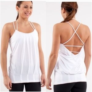 Lululemon Flow and Go White Tank